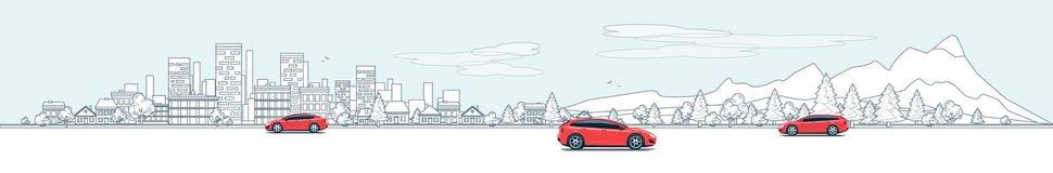 Miastowej Krajobrazowej panoramy Uliczna droga z samochodami i miasto natury b
