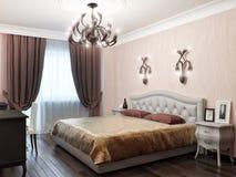 Miastowej Współczesnej Klasycznej Nowożytnej sypialni Wewnętrzny projekt Zdjęcia Stock