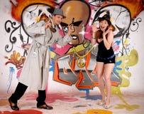 miastowi detektywistyczni graffiti Zdjęcie Royalty Free