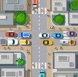 Miastowi rozdroża z samochodami ilustracja wektor