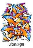 Miastowi znaki. kolorowy abstrakcjonistyczny tło Obrazy Stock