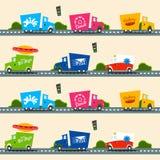 Miastowy ładunek przewozi samochodem wektorowego bezszwowego wzór w prostym dzieciaka stylu Obrazy Stock