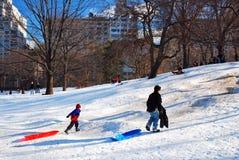 Miastowy Śnieżny dzień w central park fotografia stock
