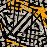 Miastowy geometryczny bezszwowy wzór z grunge skutkiem Zdjęcia Stock
