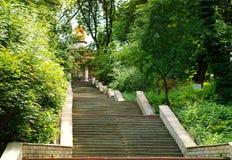 Miastowy krajobraz, kamienny schody prowadzi oddolny pojęcie miastowi przedmioty w naturze Kijów, Ukraina, kopii przestrzeń zdjęcia royalty free