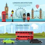 Miastowy krajobraz London sztandary ustawiający wektor ilustracji