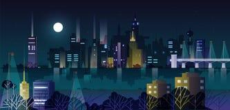 Miastowy krajobraz lub pejzaż miejski z nowożytnymi budynkami i drapaczami chmur iluminującymi latarniami ulicznymi przy nocą tła ilustracja wektor