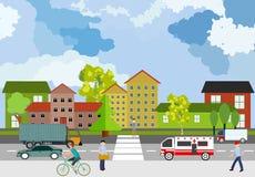 Miastowy krajobraz, pejzaż miejski, miasto ulica, samochody i ludzie, pojęcie ilustracji