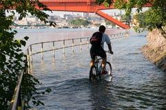 Miastowy krajobraz po powodzi zdjęcia stock