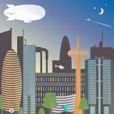 Miastowy krajobraz z dirigible Miasto noc z gwiazdami i księżyc Drapacze chmur i TV wierza z fontanną ilustracji