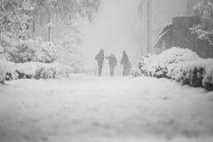 Miastowy krajobraz z ludźmi chodzi w śniegu Fotografia Royalty Free