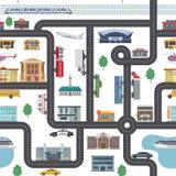 Miastowy krajobraz z różnymi sklepami, budynkami, biurami i transportem, Wektorowa bezszwowa miasto mapa w kreskówka stylu ilustracja wektor