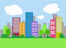 Miastowy krajobrazowy tło, płaskiego projekta pejzażu miejskiego, duża ilustracja miasto Zdjęcia Royalty Free