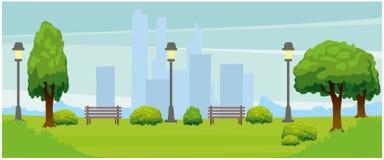 Miastowy krajobrazowy widok Krajobraz na tle wysocy domy royalty ilustracja