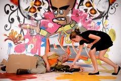 miastowy męski graffiti drałowanie Zdjęcia Stock