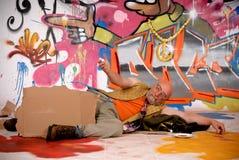 miastowy męski graffiti drałowanie Zdjęcia Royalty Free