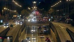 Miastowy noc ruch drogowy w Barcelona Czasu upływ 02 zbiory