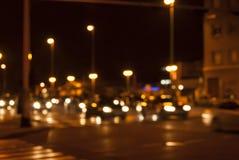 Miastowy nocy ruch drogowy Fotografia Stock
