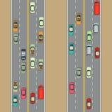 Miastowy samochodu tła ruch drogowy i drogi ilustracja wektor