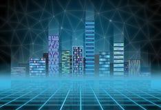 Miastowy tło: futurystyczny techniki miasto w neonowej łunie Synthwave, retrowave, abstrakcjonistyczna metropolia i praforma, royalty ilustracja