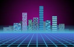 Miastowy t?o: futurystyczny techniki miasto w neonowej ?unie Synthwave, retrowave, abstrakcjonistyczna metropolia i praforma, ilustracji