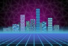 Miastowy t?o: futurystyczny techniki miasto w neonowej ?unie Synthwave, retrowave, abstrakcjonistyczna metropolia i praforma, obrazy stock