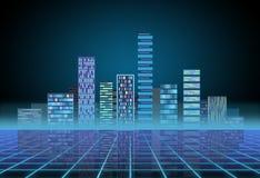 Miastowy t?o: futurystyczny techniki miasto w neonowej ?unie Synthwave, retrowave, abstrakcjonistyczna metropolia i praforma, zdjęcie stock