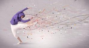 Miastowy taniec z liniami i splatter zdjęcie stock