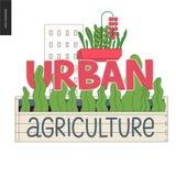 Miastowy uprawia ziemię i uprawia ogródek logo ilustracji