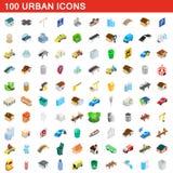 100 miastowych ikon ustawiających, isometric 3d styl Zdjęcia Stock