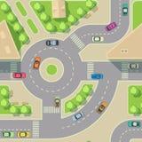 Miastowych samochodów bezszwowa tekstura Wektorowy tło Drogowy intercharge z samochodami ilustracji
