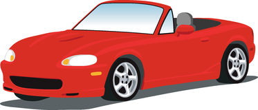 Miata Roadster. A vector Illustration of a Mazda Miata sports car isolated on white. See my portfolio for more automotive images stock illustration
