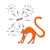 Miaulement rouge de chat sur l'illustration courante blanche de vecteur tirée par la main Images libres de droits