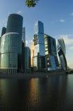 MIBC莫斯科-日落的城市 免版税库存照片