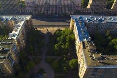 MIBC莫斯科-日落的城市 免版税库存图片