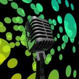 Mic и освещает зрелищность концерта микрофона выставок или музыку s иллюстрация штока