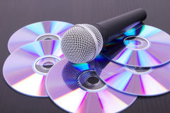 Mic on cd discs Royalty Free Stock Photography