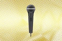 Mic  in Halftone Background Stock Photo