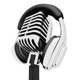 Mic And Headphones Shows Recording Studio Or Record Stock Photos