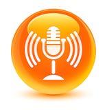 Mic icon glassy orange round button Royalty Free Stock Photos