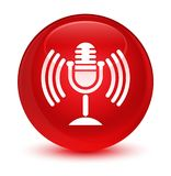 Mic icon glassy red round button Stock Photography