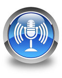 Mic icon glossy blue round button Royalty Free Stock Photography