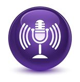 Mic icon glassy purple round button Royalty Free Stock Image