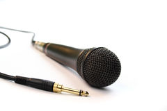Mic and jack. Microphone and jack on white Stock Photo