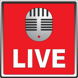 Mic Live. Icon of mic live (Studio record Stock Photo