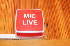 Mic live sign Stock Image