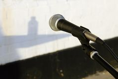 Mic at outdoor venue Royalty Free Stock Image