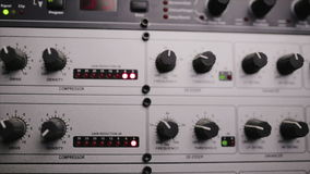 The mic preamp which is used in the radio studio stock video footage