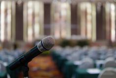 Mic for speech. Mic for presentation in hall Stock Photo