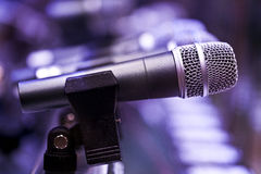 Mic with violate background Stock Photos